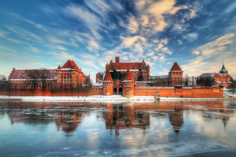 Castle in Malbork with winter reflection royalty free stock photo