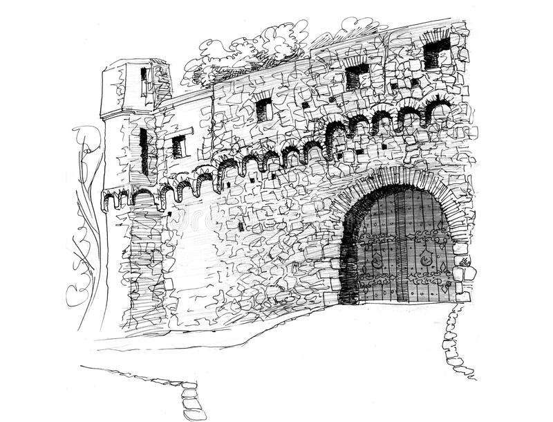 Gate of medieval castle graphical drawing. Gate of medieval castle.Graphical drawing. Stone wall and medieval castle gate. The painting took 2nd place at the stock illustration
