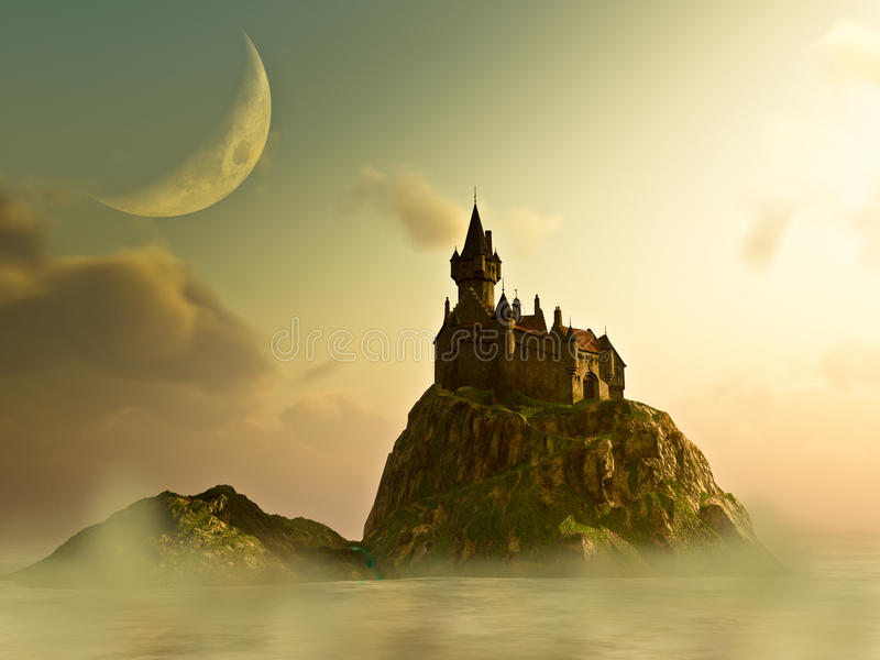 Castle In The Mist. On an island surround by water,mist/fog and the haze of summer sunrise, under the crescent moon sits the Castle keep. Warm antique fantasy