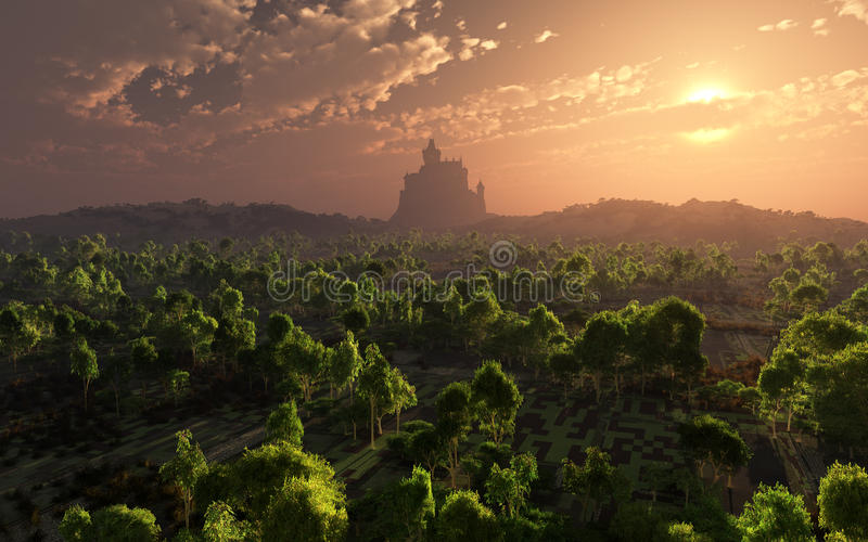 Castle In The Misty Horizon Sunset royalty free stock photography