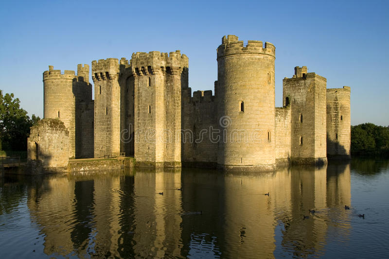 Castle and moat stock photo