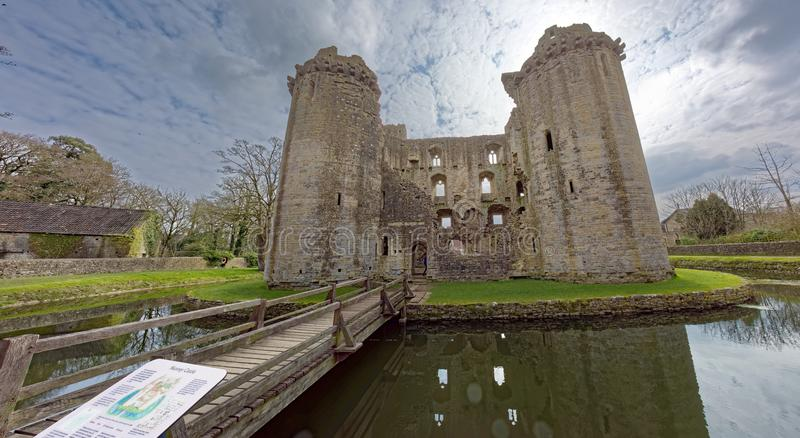 Castle with moat in England stock photo
