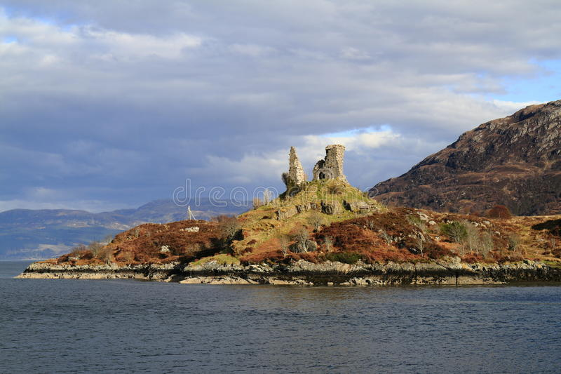 Castle Moil Castle, western Highlands of Scotland. Castle Moil Castleis a ruined castle located near the harbour of the village of Kyleakin, Isle of Skye royalty free stock photos