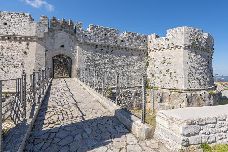 Castle of Monte Sant`Angelo, province of Foggia, northern Apulia, Italy.  stock photo