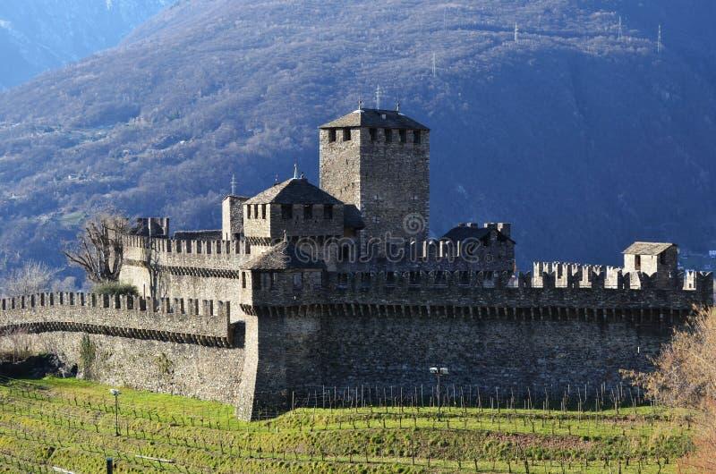 Castle Montebello, Μπελιντζόνα, Ελβετία στοκ εικόνα με δικαίωμα ελεύθερης χρήσης