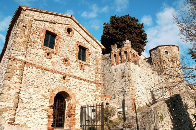 The castle of Montebello di Torriana stock photography