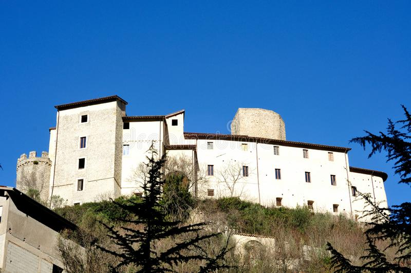 Castle of Montenero Sabino, Rieti, Lazio, Italy. In a beautiful day stock photography