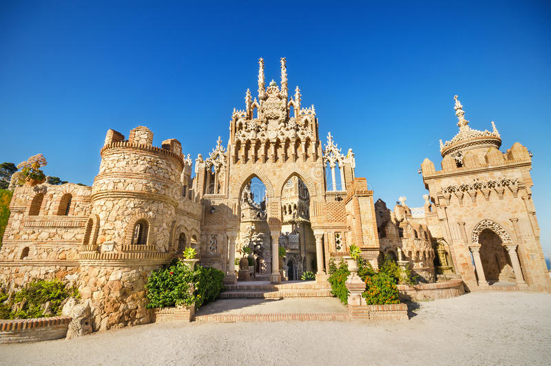Castle monument of Colomares in Benalmadena, Spain. stock photo