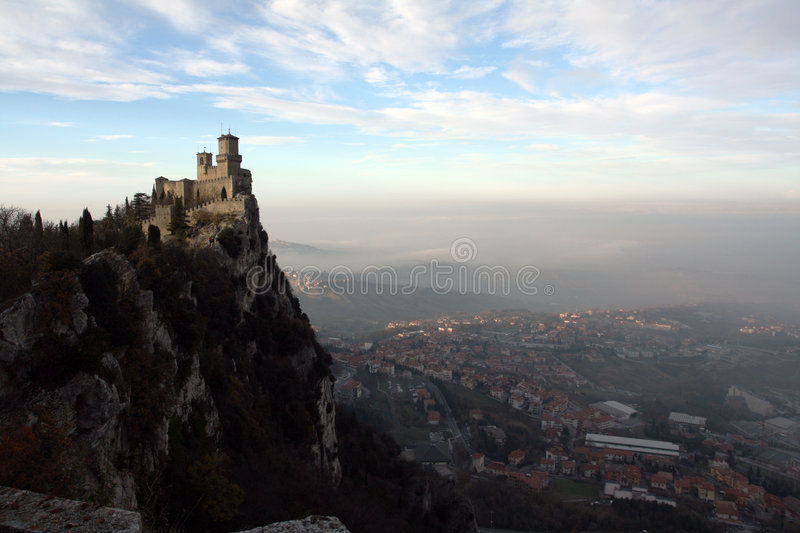 The castle on a mountain stock photos