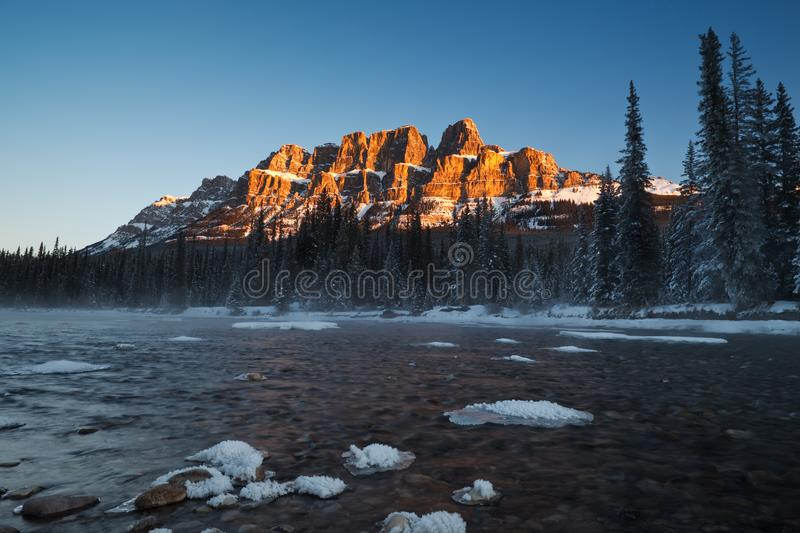 Castle Mountain in Banff National Park, Alberta, Canada royalty free stock image