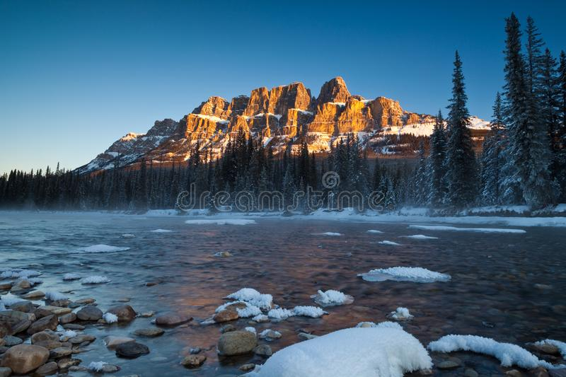 Castle Mountain in Banff National Park, Alberta, Canada stock image