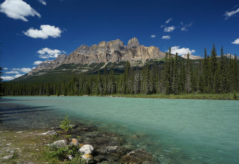 Castle Mountain & Bow River in Banff National Park stock images