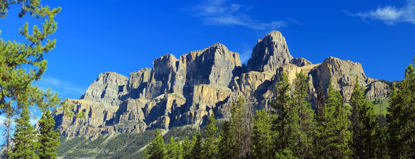 Canadian Rockies Panorama of Castle Mountain from Castle Junction in Morning Light, Banff National Park, Alberta, Canada royalty free stock image