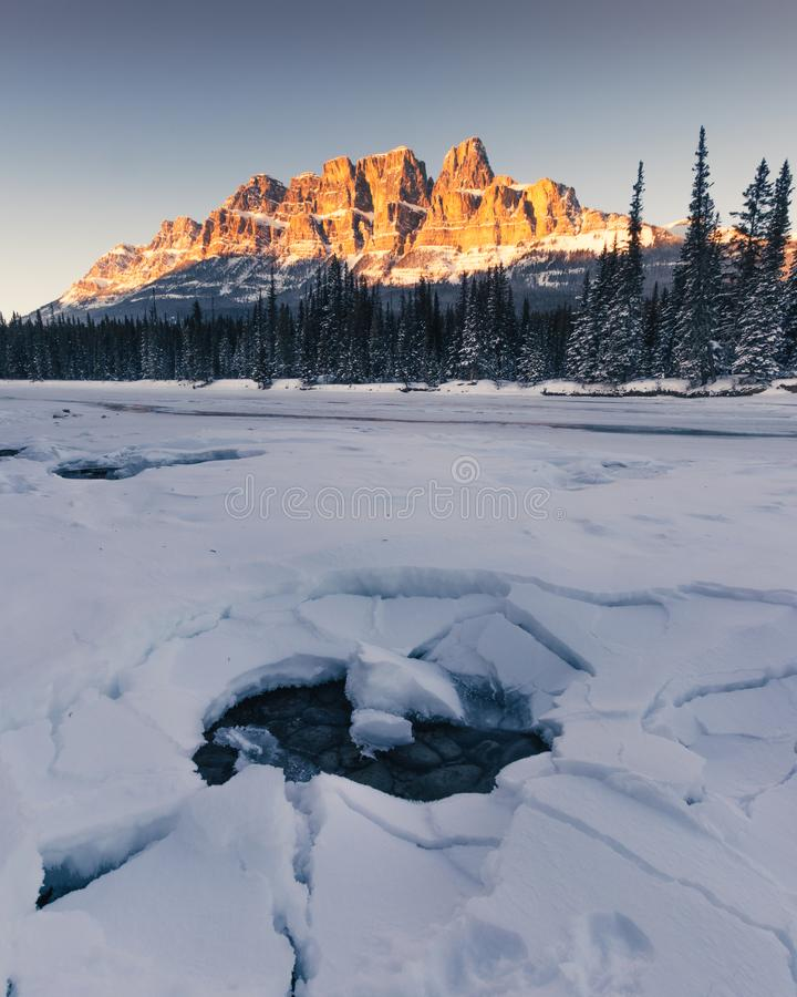 Winter sunset at Castle Mountain, Banff National Park, Travel Alberta, Radium Hot Springs, Canada,Canadian Rockies,Rocky Mountains stock images