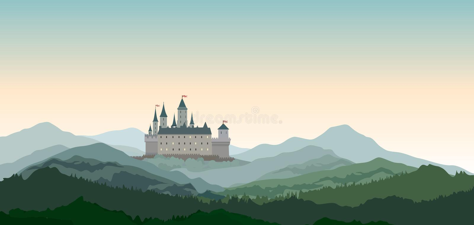Castle Mountains Landscape. European nature travel background. Castle Mountains Landscape. Travel Rural nature european background. Castle building on the hill royalty free illustration