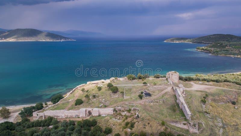 Castle of Nea Peramos, Greece royalty free stock photography