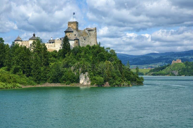 Castle in Niedzica. View of medieval castle in Niedzica against cloudy sky, Poland stock photos