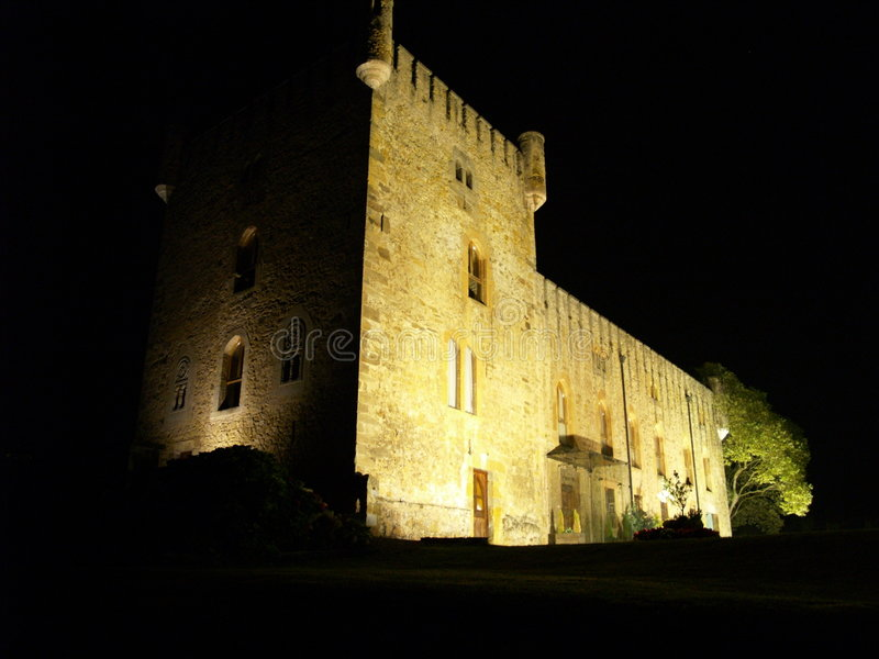 Castle in the night stock photo