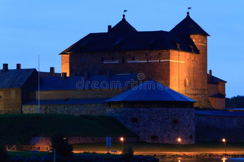 Castle at Night. Hämeenlinna Castle illuminated at night royalty free stock images