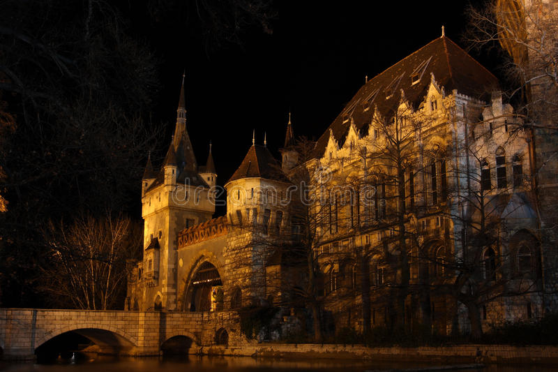 Castle at the night time, Budapest. Beautiful castle in the Budapest at the night time illuminated by a lot of lights stock photo