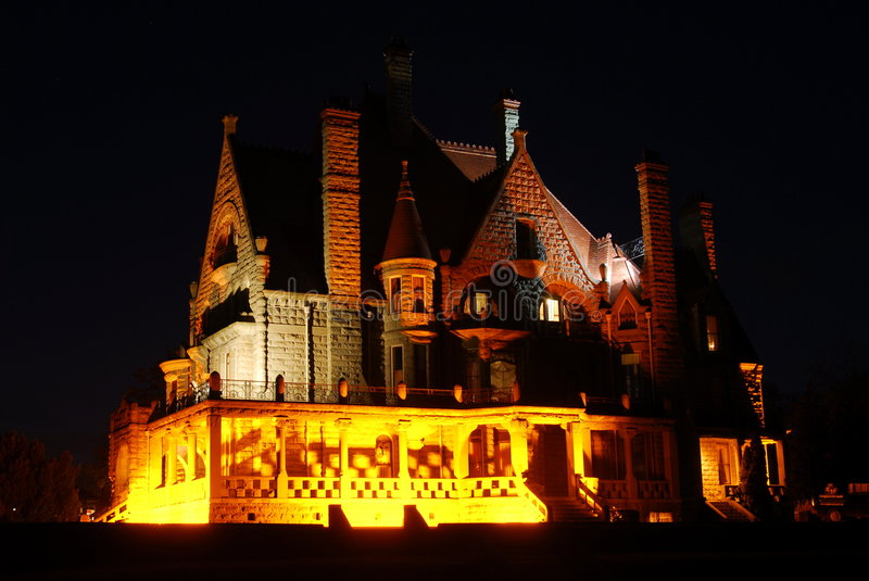 Castle nightshot. Nightshot of the historic craigdarroch castle (built in 1890) in downtown victoria, british columbia, canada royalty free stock photos