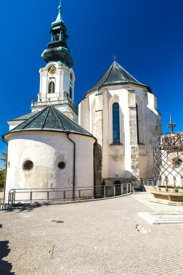 Castle in Nitra, Slovakia. Outdoors, outside, exteriors, europe, eastern, republic, czechoslovakia, town, architecture, building, church, tower, well, baroque stock photography