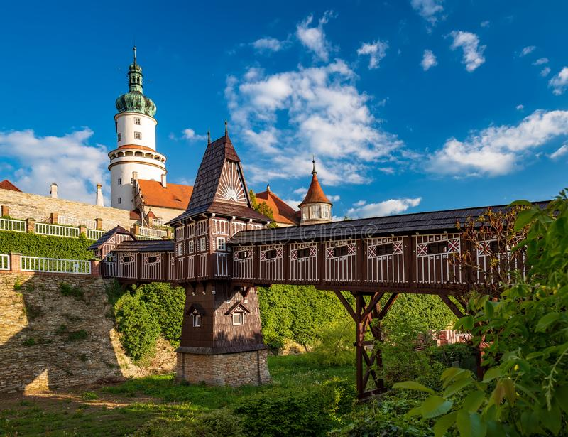Castle of Nove Mesto nad Metuji with covered wooden bridge, Czech Republic royalty free stock photography