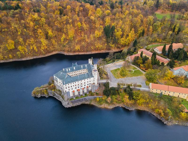 Castle Orlik nad Vltavou in Czech Republic - aerial view. Travel and architecture background royalty free stock photography