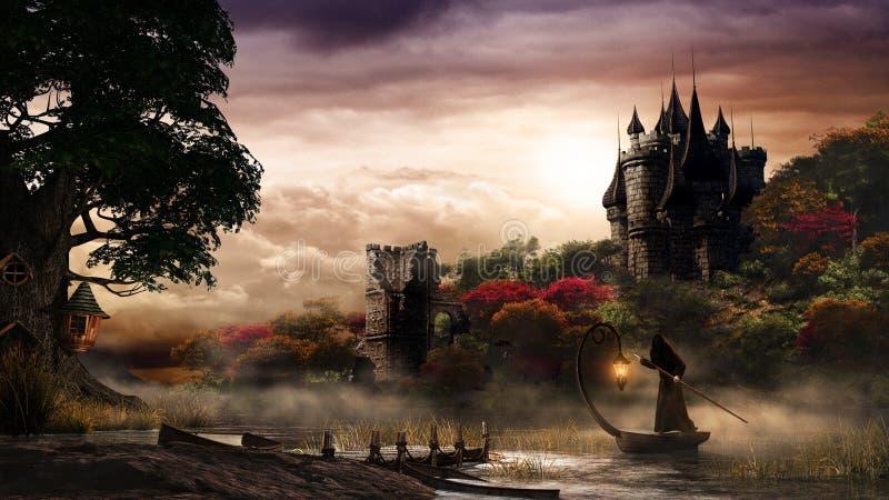 Castle over mystery lake vector illustration