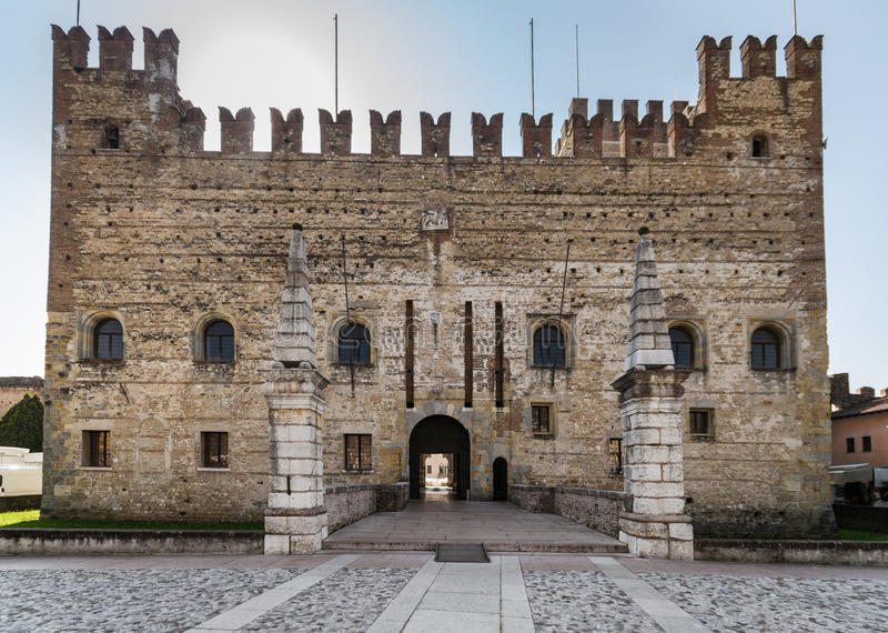 The castle overlooking Chess Square, Marostica, Italy. The castle overlooking the famous Chess Square, Marostica, Italy royalty free stock images