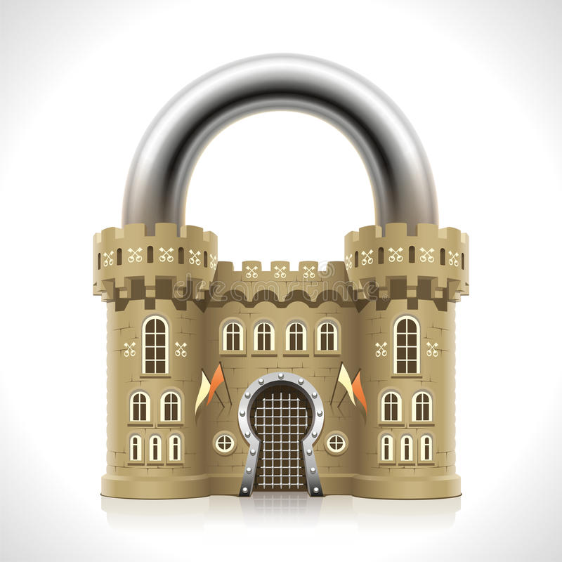 Castle Padlock. Reliable protection at home as thick walls of a medieval castle in the form of a padlock vector illustration
