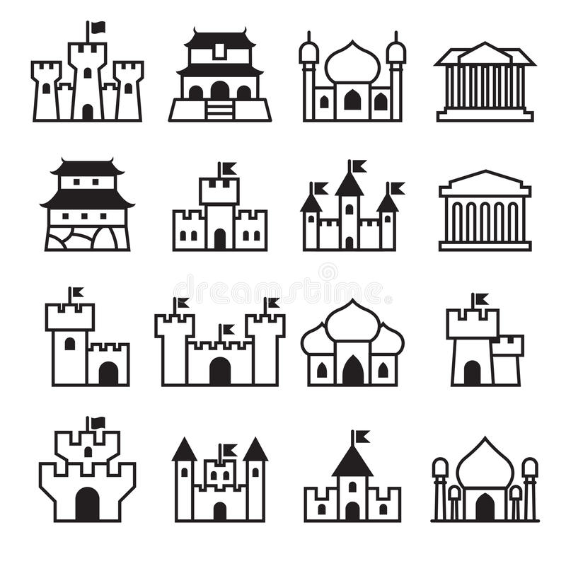Free Castle & Palace Icon Set 2 Royalty Free Stock Photography - 72474097