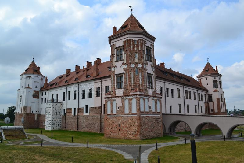 Castle and park complex `Mir` baroque architecture stock image