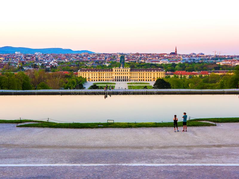 The castle park of The famous Schoenbrunn Palace in Vienna stock images