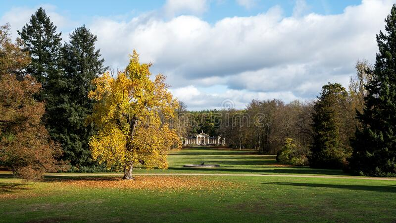 Sychrov Castle park in Czech republic in autumn colors stock photo
