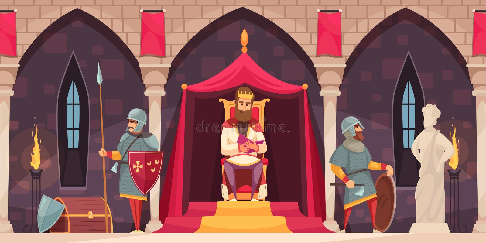 Castle People Composition stock illustration
