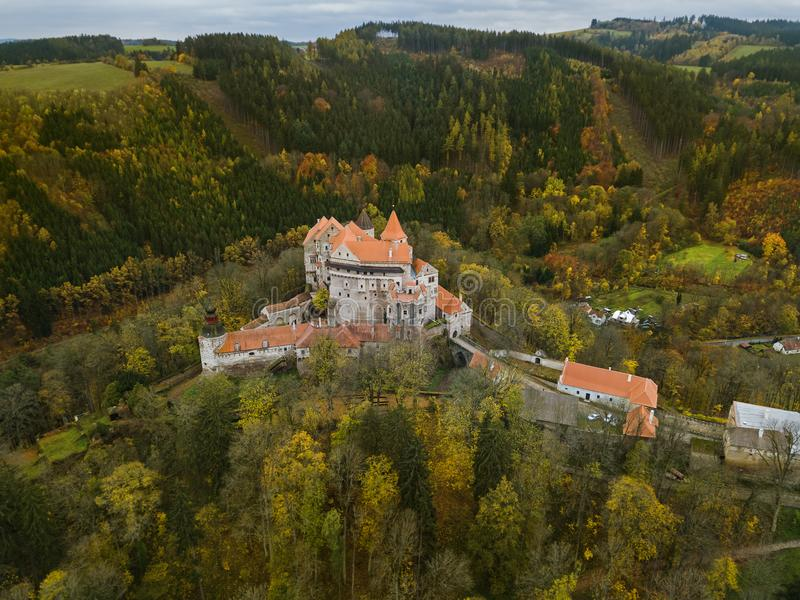 Castle Pernstejn in Czech Republic - aerial view. Travel and architecture background stock images