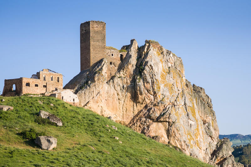 Castle Pietratagliata, Aidone, Sicily. The ruins of the abandoned medieval castle Pietratagliata or Gresti near Aidone in the Enna province of Sicily, Italy royalty free stock photo