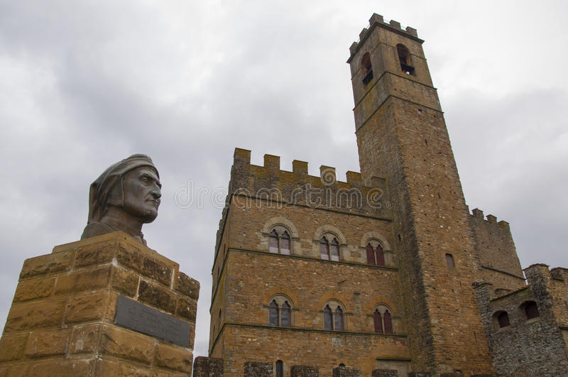 The castle of poppi and the statue of Dante. Alighieri hte most famous italian poet stock images