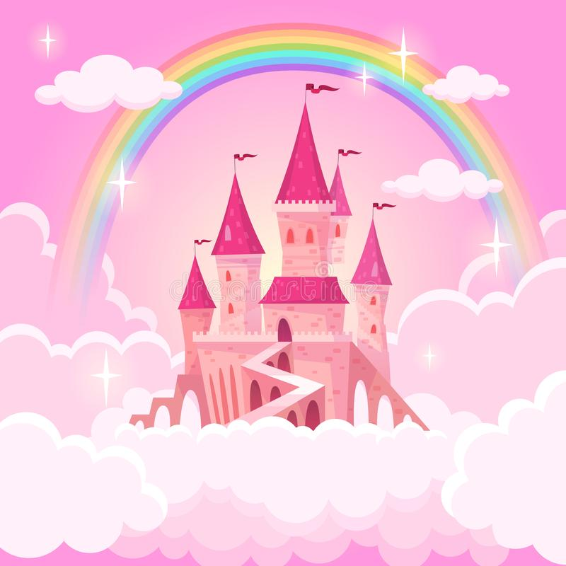 Castle of princess. Fantasy flying palace in pink magic clouds. Fairytale royal medieval heaven palace. Cartoon vector stock illustration