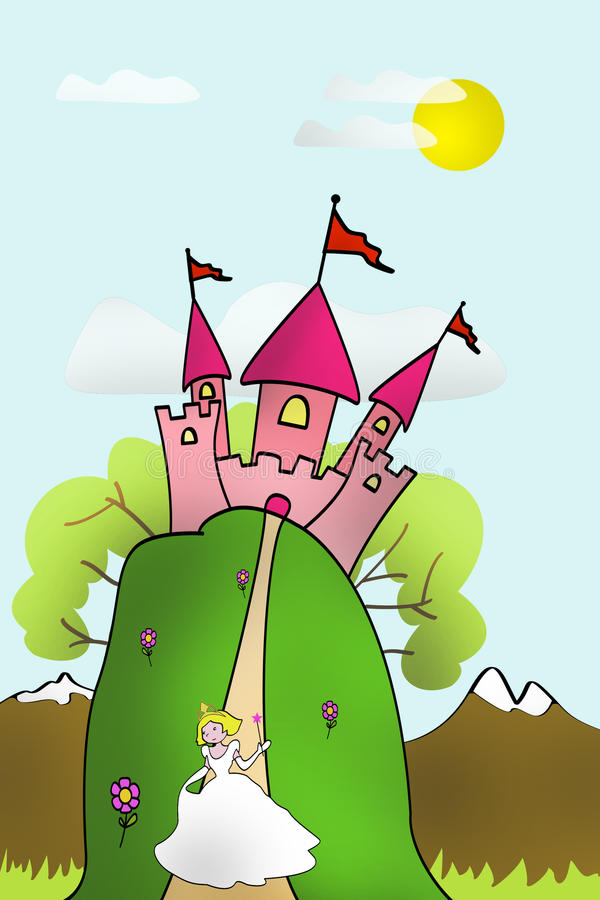 Princess castle. A cute princess walks and watch the flowers in her fairy tale castle vector illustration
