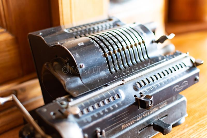 Castle Radun, Czech Republic, 7 April 2019 - Old, retro and stylish Erika typewriter at the museum royalty free stock images