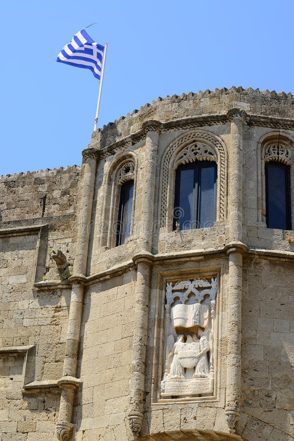 Castle in Rhodes Greece - The Palace of the Grand Master. Of the Knights of Rhodes is a medieval castle in the city of Rhodes royalty free stock photo