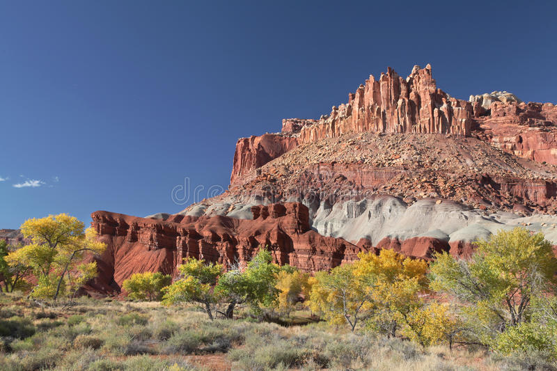 Castle Rock in the Fall, Capital Reef National Park, Utah stock photos