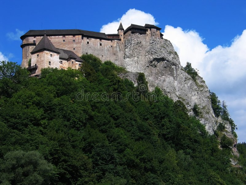 Castle on the rock (Orava, Slovakia). Orava castle - a mighty fortress high on a rock. One of the prettiest castle sightseeings in Slovakia, Europe royalty free stock photo