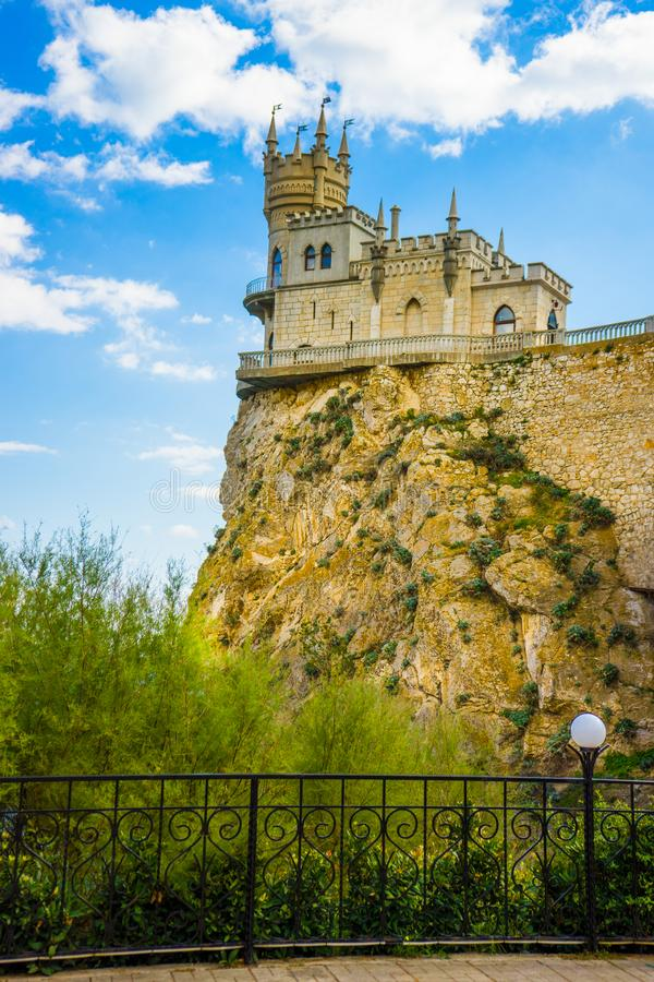 Castle on a rock. Swallow`s Nest. Attractions of Yalta. Alupka. Crimea. stock photo