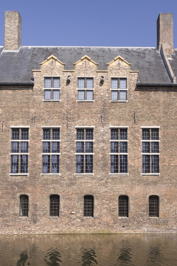 Castle Roof And Windows. Roof and windows of a medieval castle in Helmond, the Netherlands royalty free stock photo