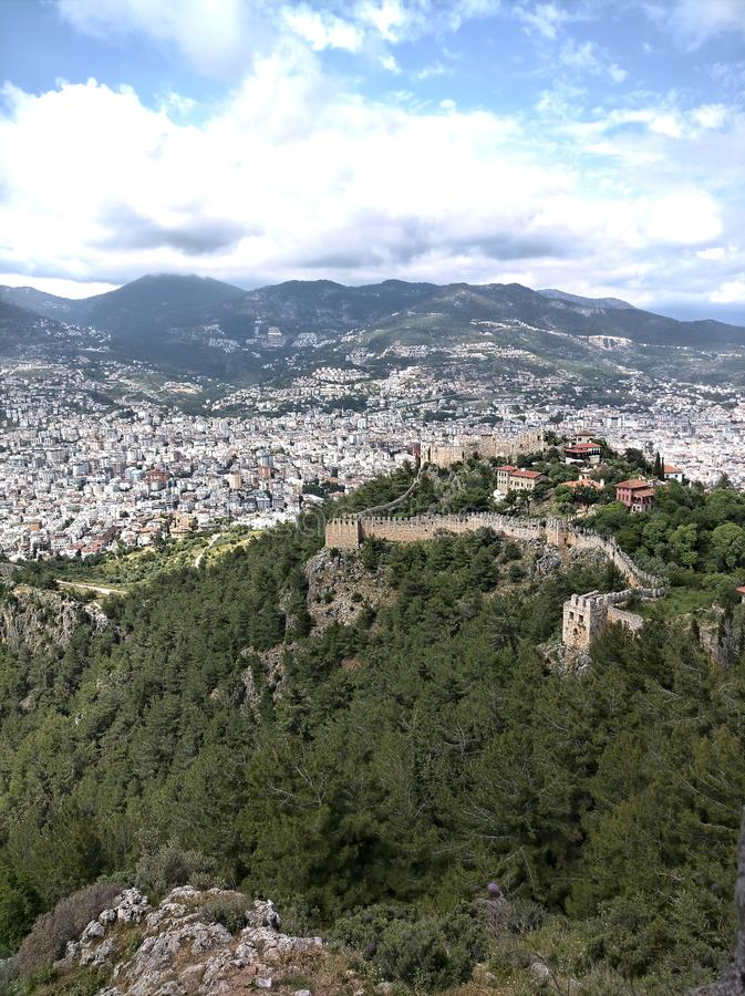 Castle ruin. Alanya, turket, turkey, vaccation royalty free stock images