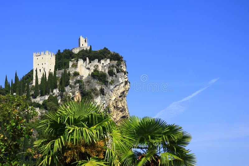 Castle ruin of Arco, Italy. The castle ruin of Arco, on a steep cliff, near Lake Garda, Trentino province, Italy stock photography
