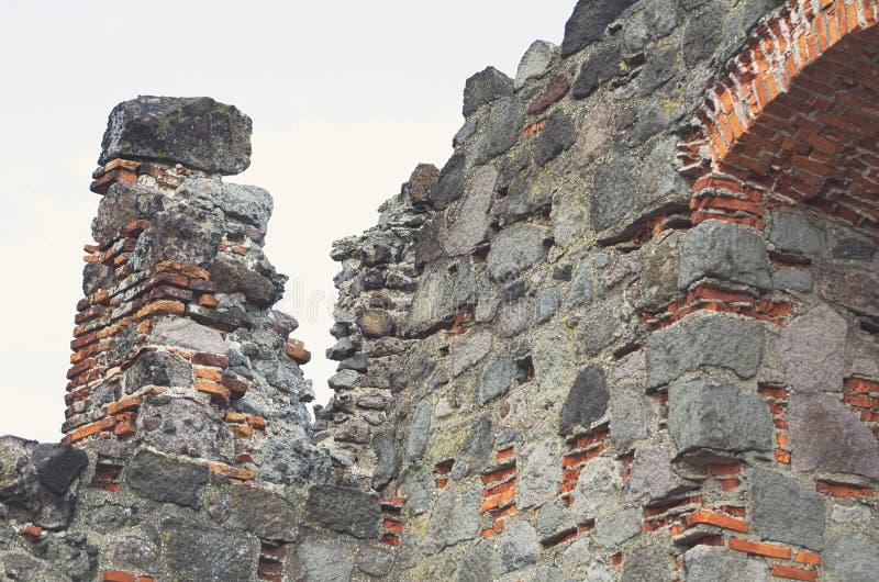 Castle Ruin Closeup. Castle Ruin Made of Stone and Brick Closeup royalty free stock photo